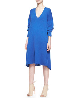 eskandar Cashmere A-Line Raw-Edge V-Neck Dress, Olympian