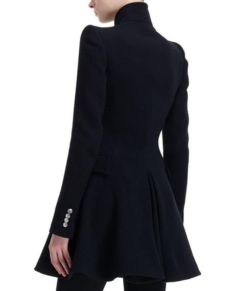 High-Collar Flared Coat