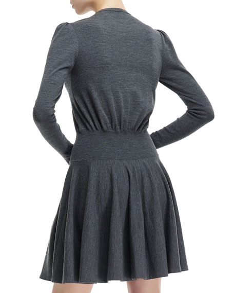 Wool Knit Dropped-Waist Long-Sleeve Dress
