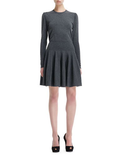 Alexander McQueen Wool Knit Dropped-Waist Long-Sleeve Dress