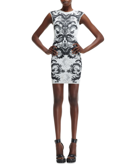 Spine Lace Knit Cap-Sleeve Mini Dress