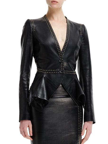 Mini-Gold Stud-Detail Leather Peplum Jacket