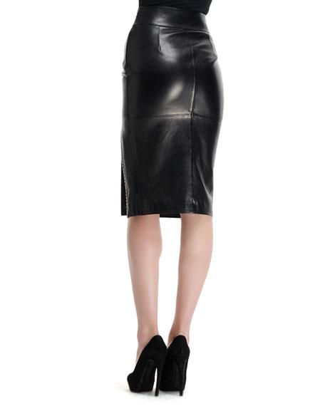 Mini-Stud Detail High-Waist Leather Skirt