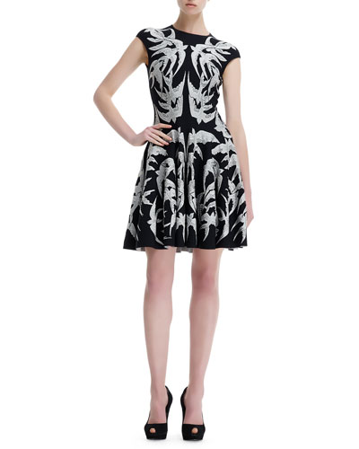 Alexander McQueen Spine Bird Lace Crochet Jacquard Fit-and-Flare Dress