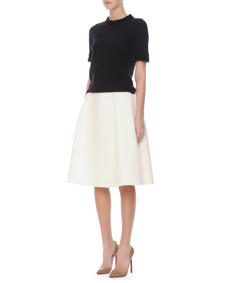 Crepe Inverted-Pleat Full Skirt