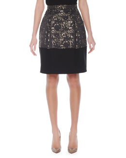 Mantu Abstract-Print Gold-Accent Balloon Skirt