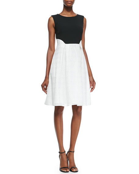 Sleeveless Lace-Skirted Dress, Black/White