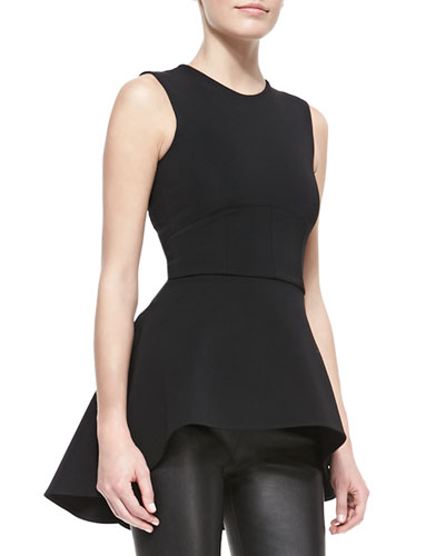 Cushnie et Ochs High-Low Seam-Waist Tunic Top
