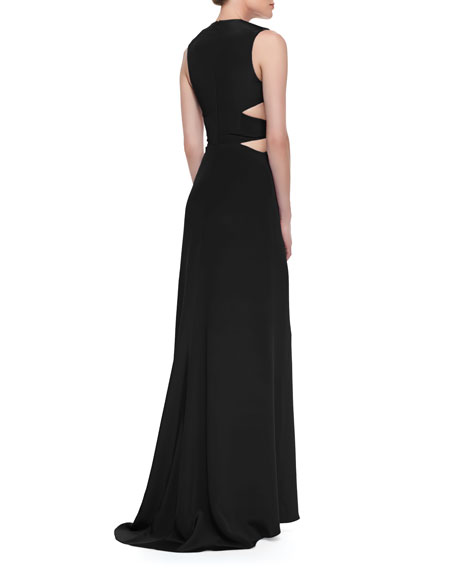Sleeveless Silk Gown with Cutout Waist, Black