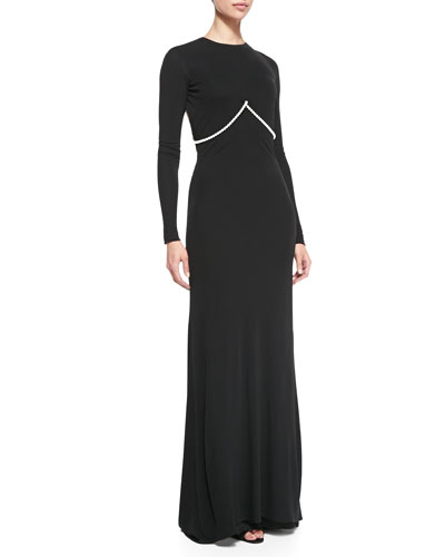 Cushnie et Ochs Long-Sleeve Pearl-Strung Open-Back Gown, Black
