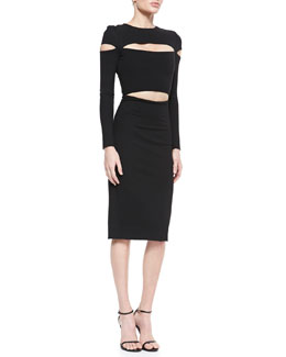 Cushnie et Ochs Dondi-Jersey Slit-Sleeve Cutout Dress