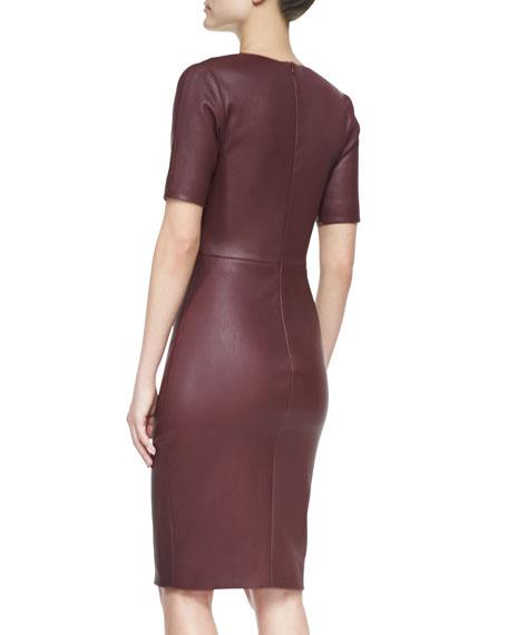 Short-Sleeve Stretch Leather Dress, Bordeaux