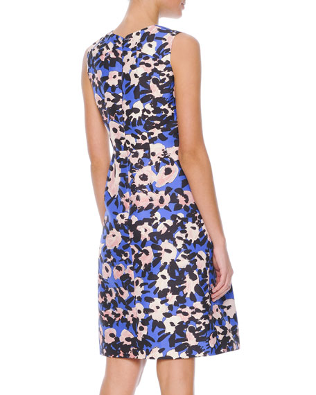 Inverted-Pleat Floral-Print Dress