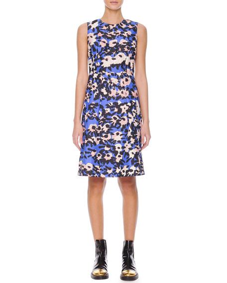 Inverted-Pleat Floral-Print Dress