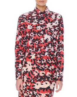 Marni Long-Sleeve Floral-Print Chest-Pocket Blouse