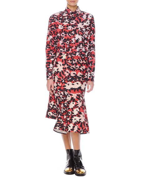 Abstract Floral-Print Skirt with Side Godet
