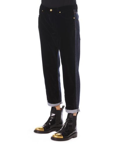 Marni Velvet/Denim Cropped Relaxed Pants
