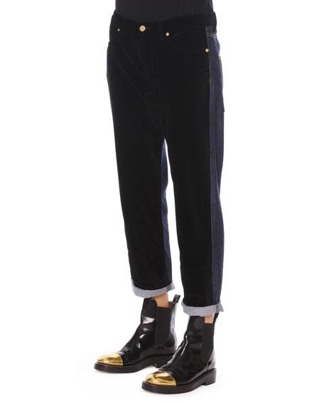 Velvet/Denim Cropped Relaxed Pants