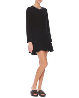 Marni Long-Sleeve Jewel-Neck Dress, Coal Black