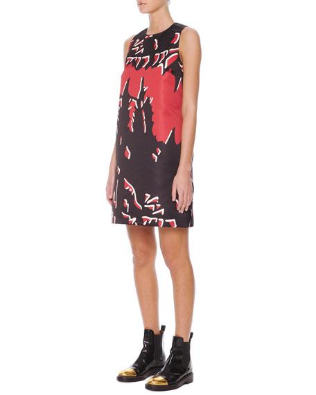 Macro-Floral-Print Satin Shift Dress, Hot Red