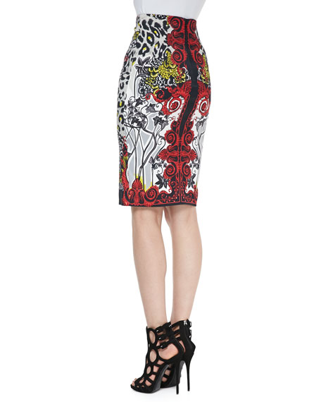 High-Waist Leopard & Scroll Printed Skirt, Red/Black/Multi