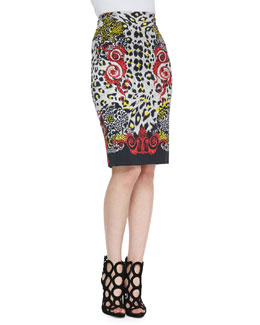 Versace Collection High-Waist Leopard & Scroll Printed Skirt, Red/Black/Multi