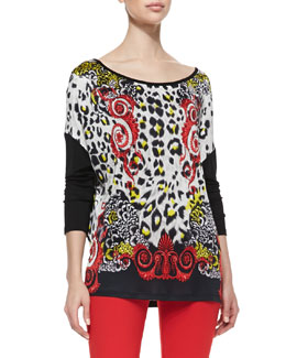Versace Collection Leopard & Scroll Printed Top