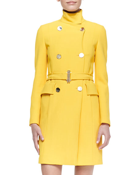 Double-Breasted Belted Coat, Yellow