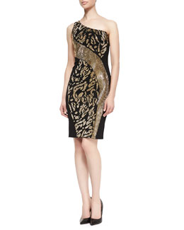 Versace Collection One-Shoulder Animal-Patterned Dress, Black/Gold