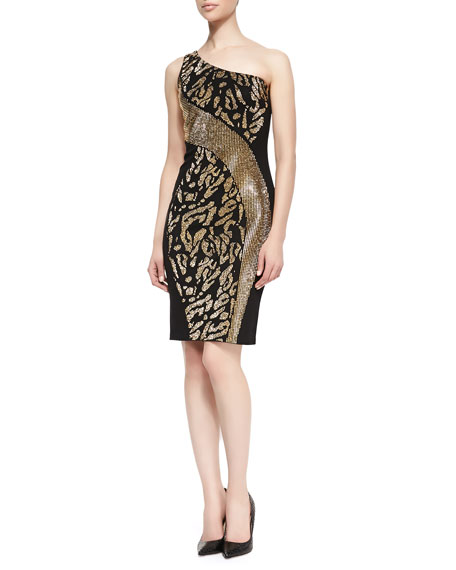 One-Shoulder Animal-Patterned Dress, Black/Gold
