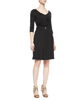 Versace Collection 1/2-Sleeve Pleated Jersey Dress, Nero Black