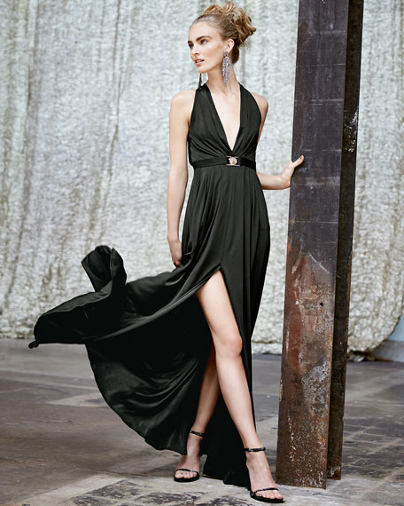 Plunging Halter Jersey Gown with Belt, Black