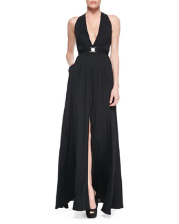 Versace Collection Plunging Halter Jersey Gown with Belt, Black
