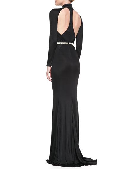 Mock-Neck Long-Sleeve Gown with Chevron Beaded Waist