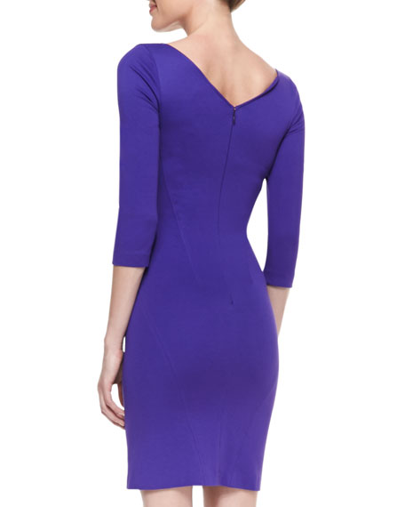 3/4-Sleeve Belted-Shoulder Jersey Dress, Violet