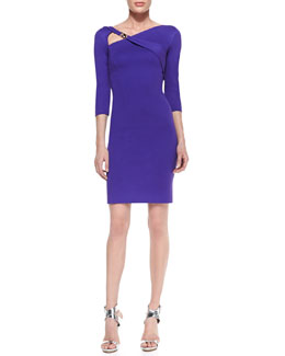 Versace Collection 3/4-Sleeve Belted-Shoulder Jersey Dress, Violet