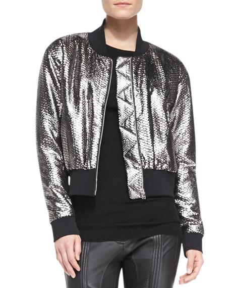 Long-Sleeve Python-Print Bomber Jacket, Silver