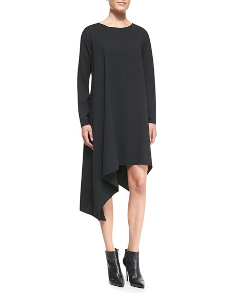 Long-Sleeve Crepe Shift Dress, Black