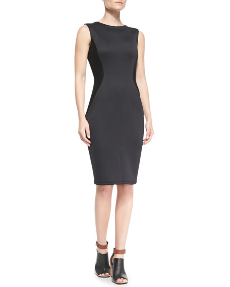 Sleeveless Scuba-Knit Sponge Dress, Black