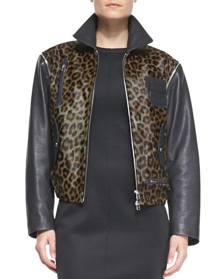 Convertible Leopard-Print/Leather Moto Vest-Jacket