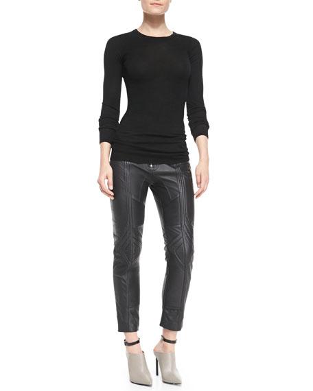 Biker Cropped Leather Pants, Black