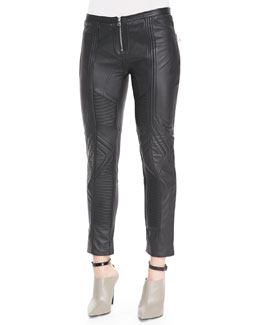 Faith Connexion Biker Cropped Leather Pants, Black