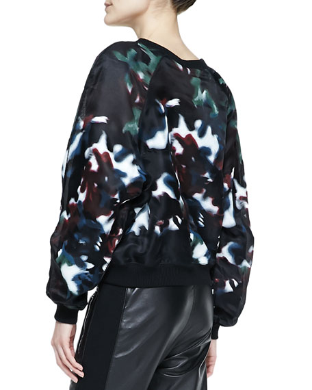 Long-Sleeve Printed Organza Sweater