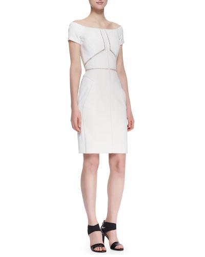 J. Mendel Off-Shoulder Dress with Lace Insets, Ecru