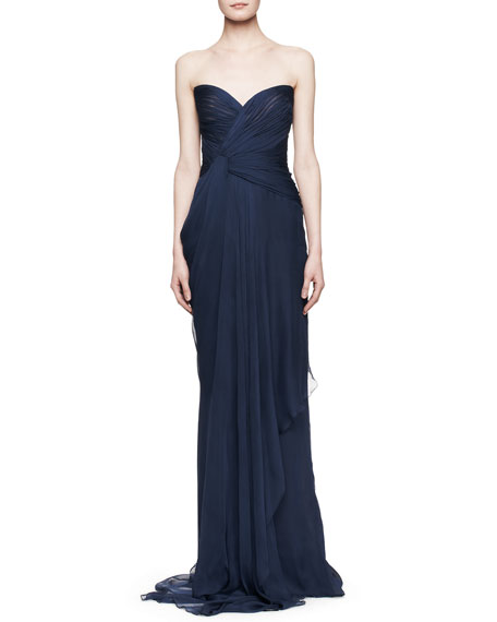 Strapless Silk Gown with Pleated Bodice, Bleu Roi