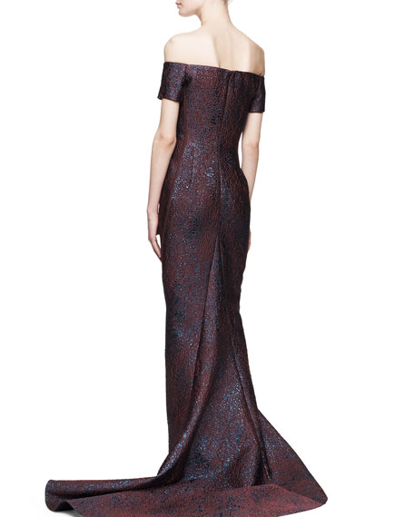 Off-the-Shoulder Fitted Gown
