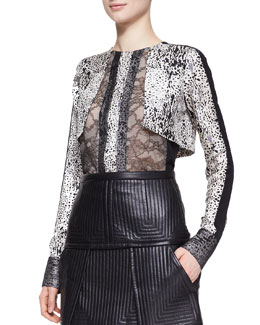 J. Mendel Long-Sleeve Top with Lace
