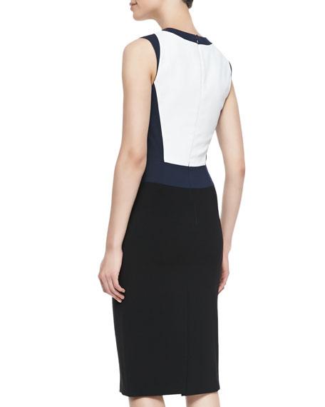 Crepe Colorblock V-Neck Sheath Dress