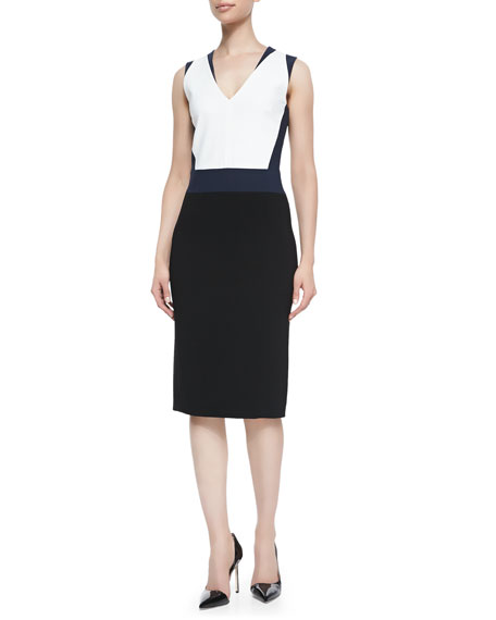Crepe Colorblock V-Neck Sheath Dress