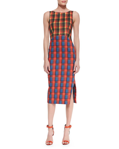 Sleeveless Mixed-Plaid Midi Length Tank Dress